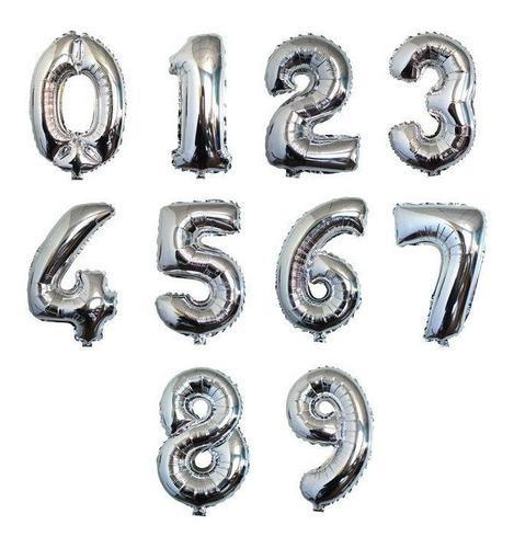 Globos Metalizados De Números Plata 80cm