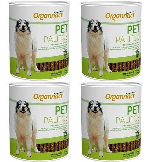 Kit Palitos Com 4 Pet Palitos 1kg Organnact - Frete Gratis