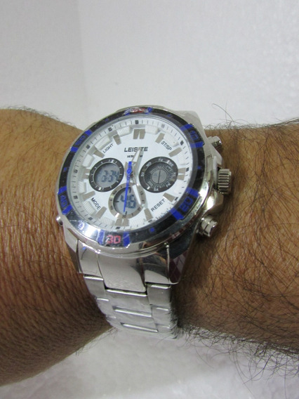 Relógio Ponteiro Digital Esportivo Leisite Aço Lindo Versati