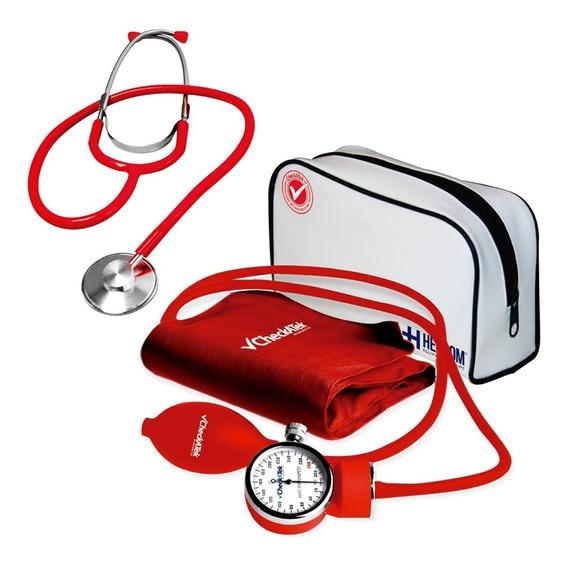 Kit Simple Baumanometro Aneroide Popular Rojo B1-5s