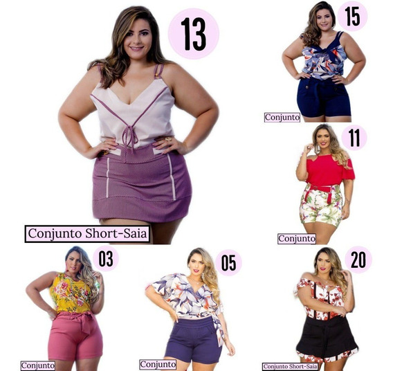 Conjunto Plus Size Feminino ( Short + Blusa ) Belly Moda Gg