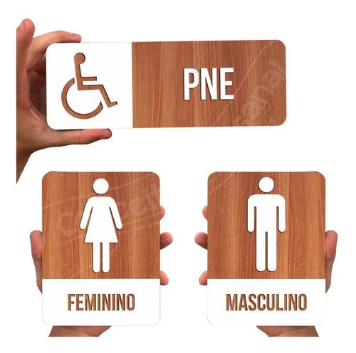 Kit Placas Sinalização Para Restaurante Banheiro Fem/masc