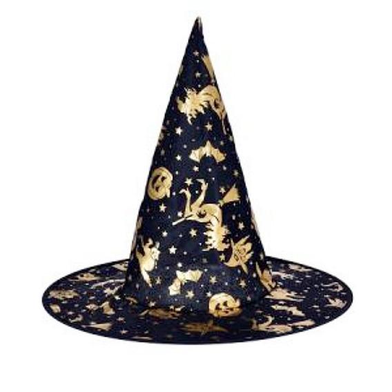 Gorros Bruja Negro Y Dorado Halloween Cumpleaños Cotillón