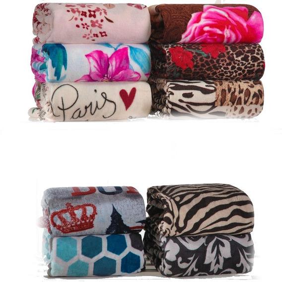 Manta Casal Embaladas Kit Com 7 Cobertores + Brinde