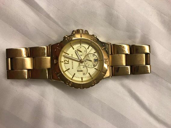 Relógio Michael Kors Dourado Grande Usado Mk