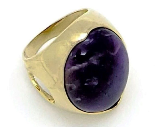 Anel Violeta Cristal Aro Vazado Banhado Em Ouro 18k 151