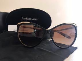 23c56404c Óculos De Sol Polo Ralph Lauren Marrom Com Dourado E Nude
