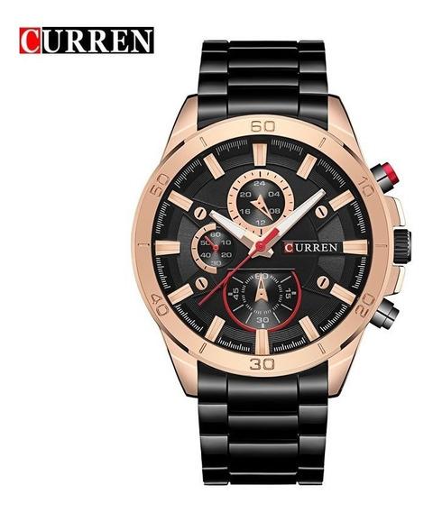 Relógio Masculino Curren Preto Original Com Garantia