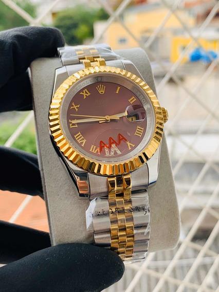 Relógio Pulseira Prata&dourado 38mm Fundo Vermelho