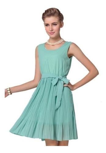 Vestido Elegante De Fiesta Gasa Plisada Talla M Nuevo Stock