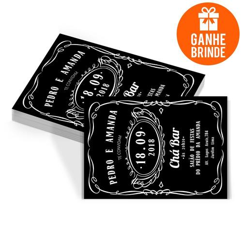 Imagem 1 de 3 de 100 Convites Personalizados Chá Bar Jack Daniels + Brinde