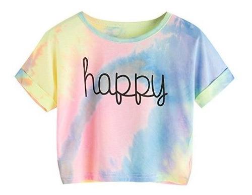 Sweatyrocks Tie Dye Camiseta Corta, Con Impresion De Letra,