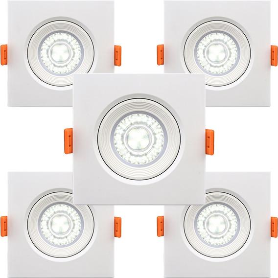 Kit 5 Spot Led Quadrado De Embutir 5w 350lm Amarela Elgin