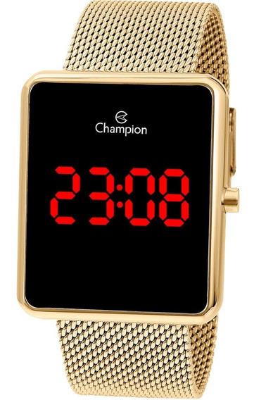 Relogio Champion Digital Ch40080v Dourado Led Vermelho