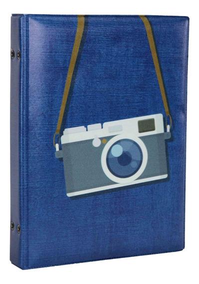 Álbum De Fotos Capa Câmera Fotográfica Azul 100 Fotos 15x21