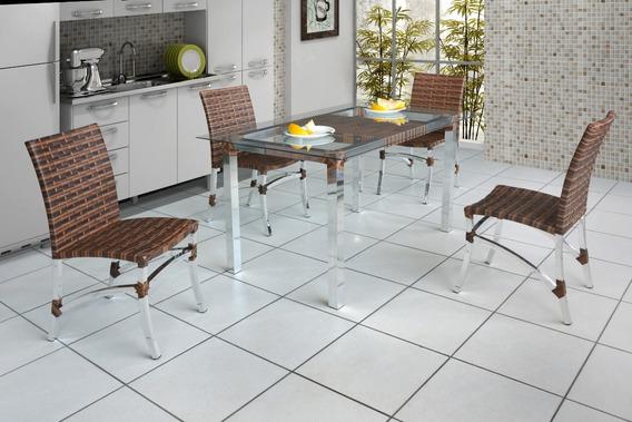 Mesa 4 Cadeiras,alumínio,fibra Sintética,cozinha,área Gormer