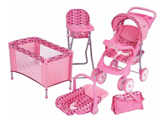 Carriolita Cunita Portabebe Para Muñeca Maxi Doll Pink Prins