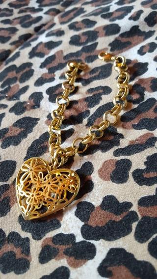 Pulseira De Ouro Com Pingente De Coração