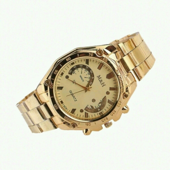 Relógio De Pulso Luxo Unissex Dourado Varias Cores