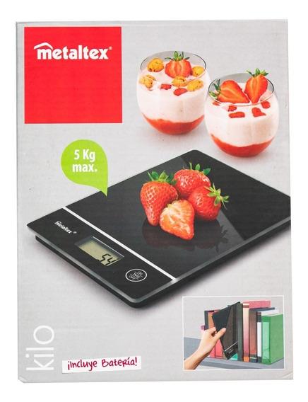Bascula Cocina Digital Negra Metaltex 3kg Charola Oferta