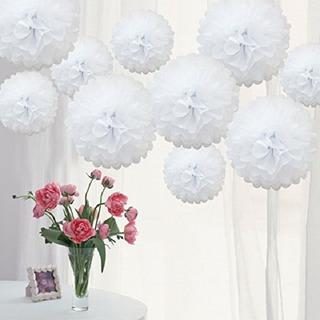 20 Pompom De Papel Branco 25cm Decoração De Festa Debutante