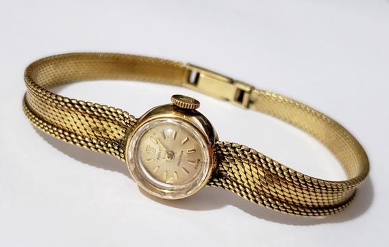 Relógio Feminino Rolex Vintage Em Ouro 18k Swiss Made