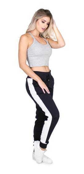 Calça Ribana Feminina Jogger Listrada Moletom Inverno 024