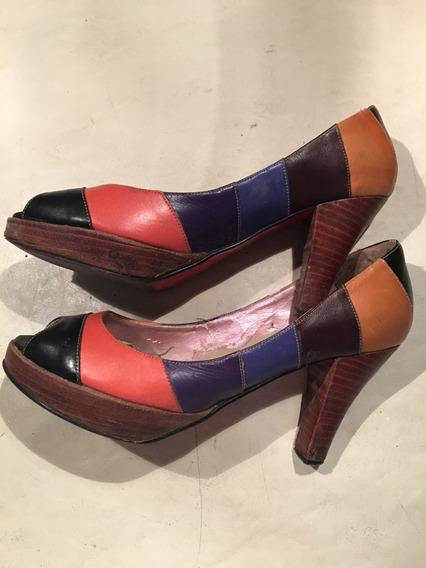 Zapatos De Colores Boca De Pez Usado Muy Buen Estado Colore
