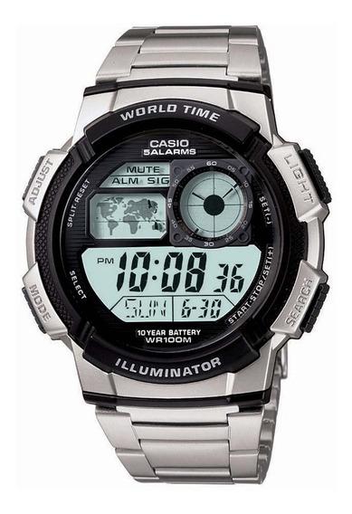 Relógio Casio Digital Ae 1000wd Pulseira Aço Mapa Cronometro