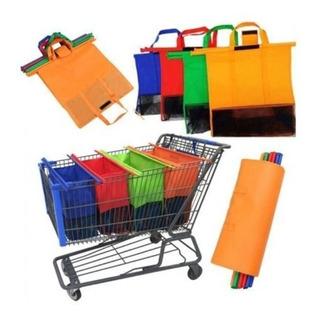 Bolsa Ecologica Para Carrito De Supermercado Paquete De 4