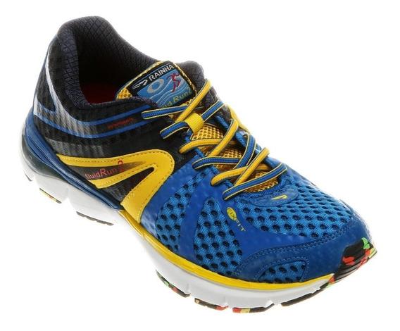 Tênis Rainha Fluid Run 2 / Azul E Amarelo   Original