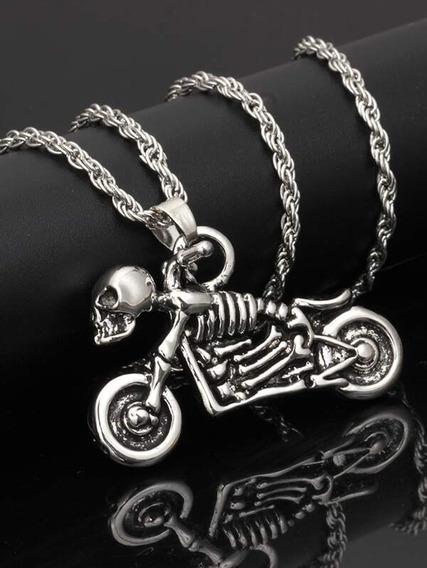 Collar Colgante De Esqueleto Y Motocicleta