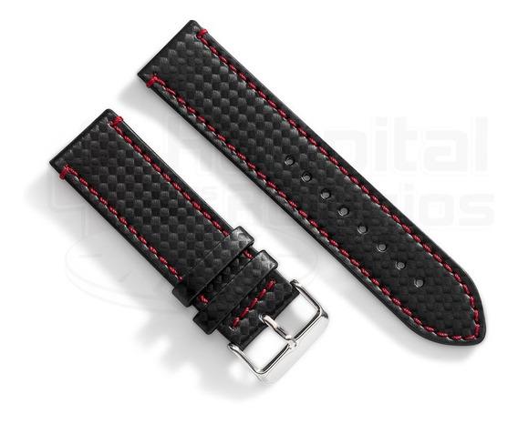 Pulseira Couro Fibra Carbono 24mm Preta C/ Vermelho Relógio
