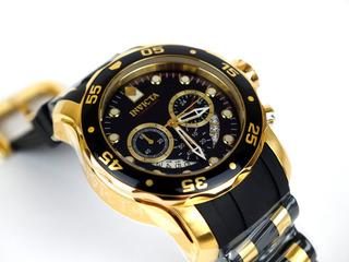 Reloj Hombre Invicta Pro Diver Dorado Negro Crono 6981