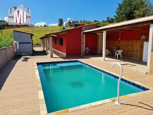 Imagem 1 de 16 de Linda Chácara Com 02 Dormitórios, Piscina, Espaço Gourmet, Bairro Povoado À Venda, 500 M² Por R$ 250.000 - Rural - Socorro/sp - Ch0921