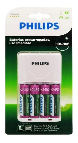 Imagem 1 de 2 de Kit Carregador C/ 4 Pilhas Philips Recarregaveis Aa 2450mah