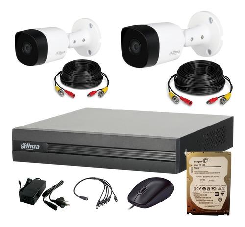 Dahua Kit Seguridad Dvr 4 Ch Hdmi P2p + 2 Camaras Full Hd 1080p 2mp Interior Exterior Ip 67 + Disco 500 Gb