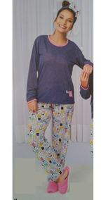 Pijama Roupa Dormir Inverno Adulto Manga Longa Feminino