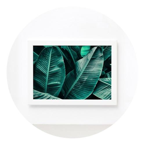 Imagem 1 de 4 de Quadro Decorativo Folhagem Folha Moldura Branca 33x43cm
