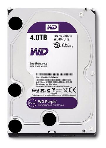 Imagen 1 de 4 de Disco Rigido Western Digital Purple Wd40purz 4tb Sata 3