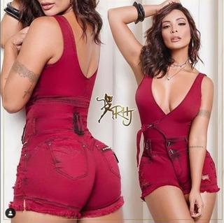 Macaquinho Short Rhero Jeans Cod 55899 Jardineira Em Oferta