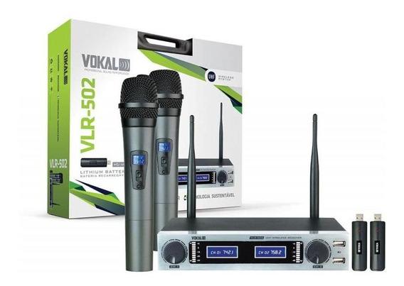 Microfone De Mão Duplo Vokal Sem Fio - Vlr502