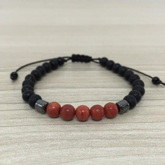 Pulseira Masculina Biojoia Pedra Onix Coral Vermelho