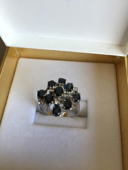 Oferta Anillo De Dama Tailandes Con Zafiros Y Diamantes