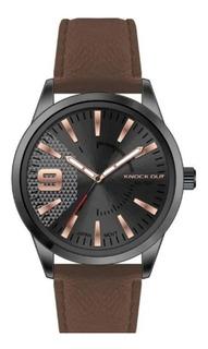 Reloj Knock Out Kn 2594 Malla De Cuero Hombre