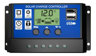 10a Panel Solar Controlador Hd Lcd Batería Regulador De Cob