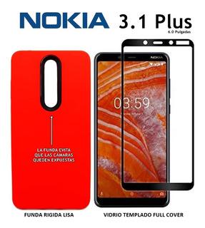 Funda Rigida + Templado Full Cover Full Glue Nokia 3.1 Plus