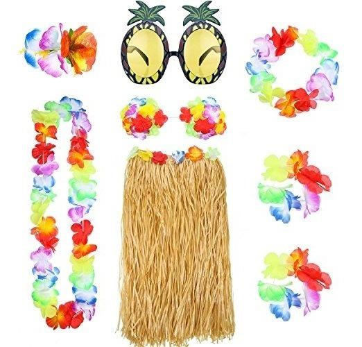 Gejoy Juego De 8 Faldas Hawaianas De Cesped De Hula Con Col