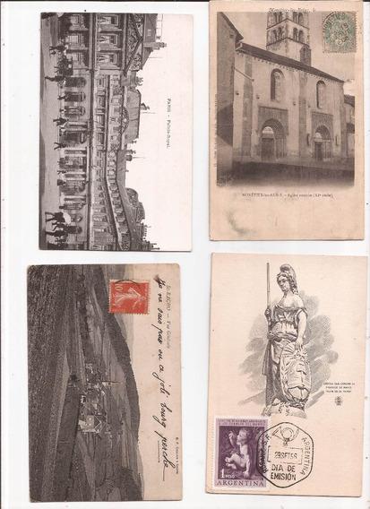 4 Tarjestas Postales Francia Y Argentina Antiguas