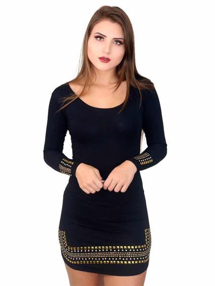 Vestido Feminino Curto Com Pedraria Strass Manga Longa